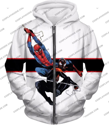 Image of Spiderman X Black Cool Action White T-Shirt Sp144 Zip Up Hoodie / Us Xxs (Asian Xs)