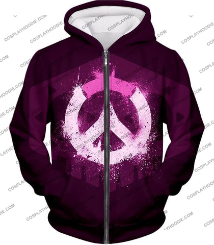 Image of Overwatch Pink Logo Promo Maroon T-Shirt Ow144 Zip Up Hoodie / Us Xxs (Asian Xs)