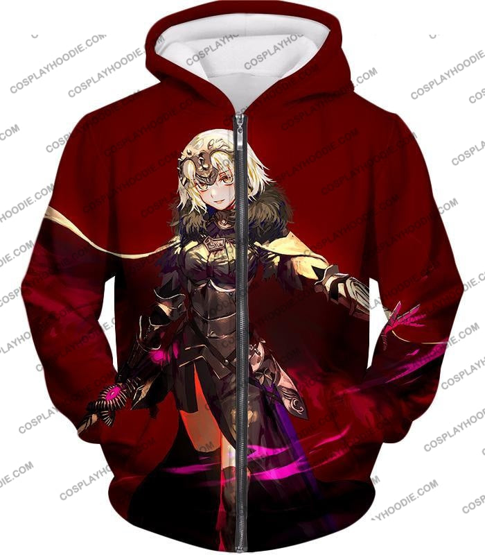 Fate Stay Night Beautiful Blonde Jeanne Red Action T-Shirt Fsn144 Zip Up Hoodie / Us Xxs (Asian Xs)