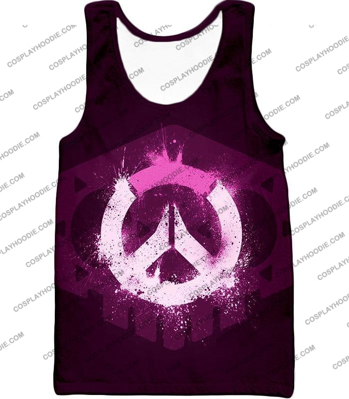 Overwatch Pink Logo Promo Maroon T-Shirt Ow144 Tank Top / Us Xxs (Asian Xs)
