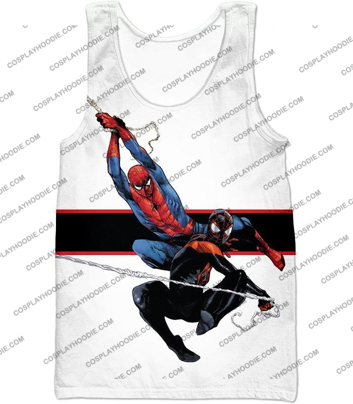 Spiderman X Black Cool Action White T-Shirt Sp144 Tank Top / Us Xxs (Asian Xs)