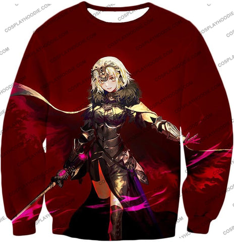 Image of Fate Stay Night Beautiful Blonde Jeanne Red Action T-Shirt Fsn144 Sweatshirt / Us Xxs (Asian Xs)