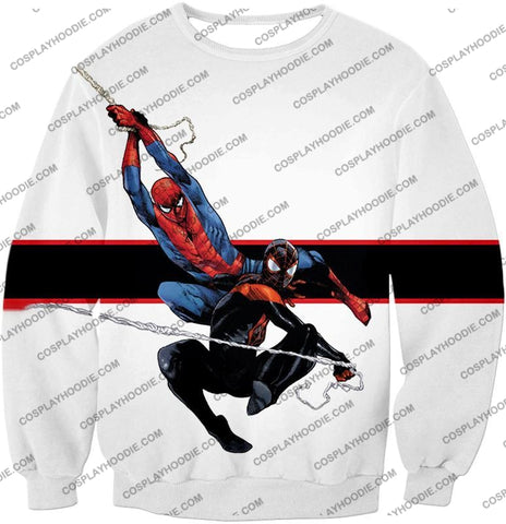 Image of Spiderman X Black Cool Action White T-Shirt Sp144 Sweatshirt / Us Xxs (Asian Xs)