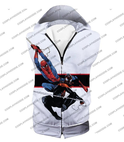 Image of Spiderman X Black Cool Action White T-Shirt Sp144 Hooded Tank Top / Us Xxs (Asian Xs)