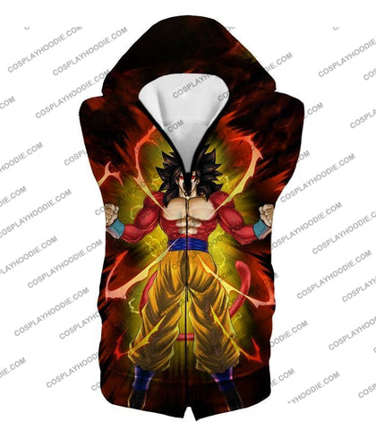 Image of Dragon Ball Super Goku Saiyan 4 Ultimate Power Promo Black T-Shirt Dbs144 Hooded Tank Top / Us Xxs