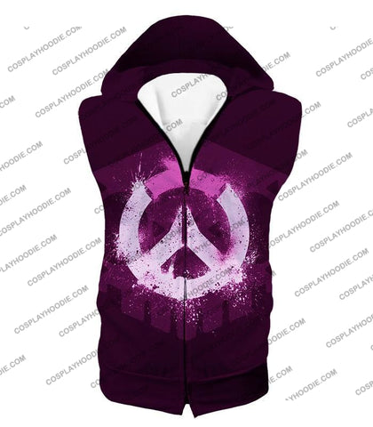 Image of Overwatch Pink Logo Promo Maroon T-Shirt Ow144 Hooded Tank Top / Us Xxs (Asian Xs)