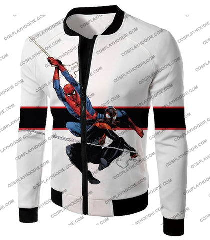 Image of Spiderman X Black Cool Action White T-Shirt Sp144 Jacket / Us Xxs (Asian Xs)