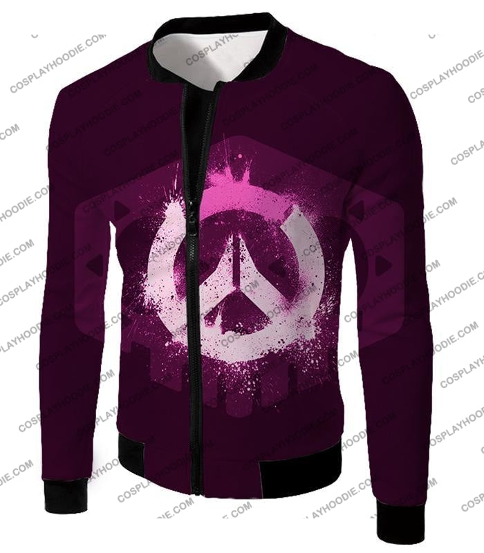 Overwatch Pink Logo Promo Maroon T-Shirt Ow144 Jacket / Us Xxs (Asian Xs)