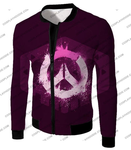 Image of Overwatch Pink Logo Promo Maroon T-Shirt Ow144 Jacket / Us Xxs (Asian Xs)