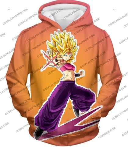 Image of Dragon Ball Super Awesome Female Saiyan Caulifla Cool Action Rose T-Shirt Dbs145 Hoodie / Us Xxs