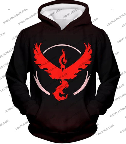 Image of Pokemon Cool Go Team Valor Moltres Logo Black T-Shirt Pkm145 Hoodie / Us Xxs (Asian Xs)