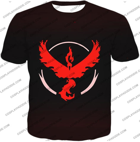 Image of Pokemon Cool Go Team Valor Moltres Logo Black T-Shirt Pkm145 / Us Xxs (Asian Xs)