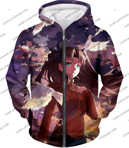 Image of Fate Stay Night Cute Anime Girl Rin Tohsaka Cool Printed T-Shirt Fsn145 Zip Up Hoodie / Us Xxs