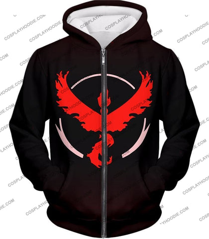 Image of Pokemon Cool Go Team Valor Moltres Logo Black T-Shirt Pkm145 Zip Up Hoodie / Us Xxs (Asian Xs)