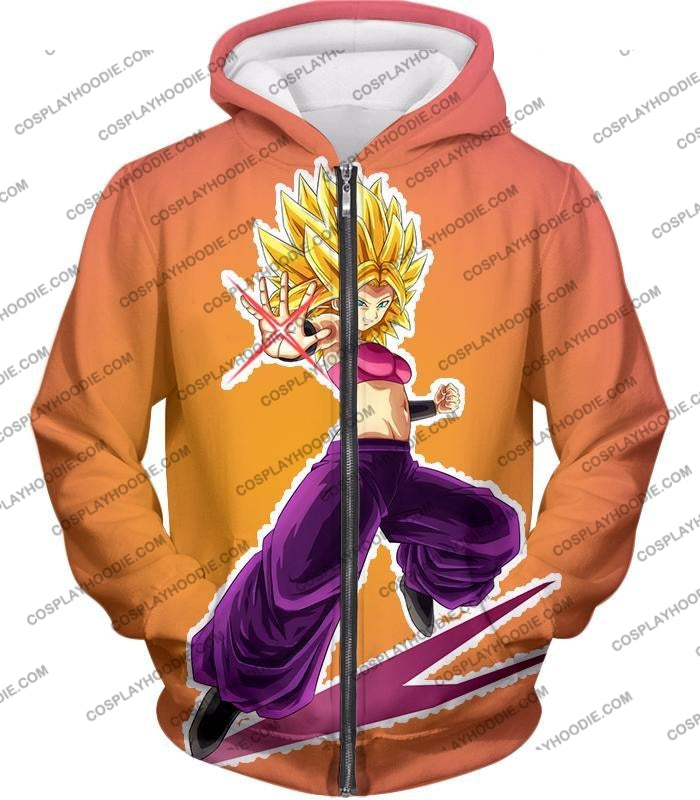 Dragon Ball Super Awesome Female Saiyan Caulifla Cool Action Rose T-Shirt Dbs145 Zip Up Hoodie / Us