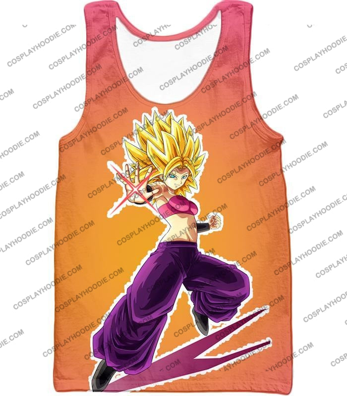 Dragon Ball Super Awesome Female Saiyan Caulifla Cool Action Rose T-Shirt Dbs145 Tank Top / Us Xxs