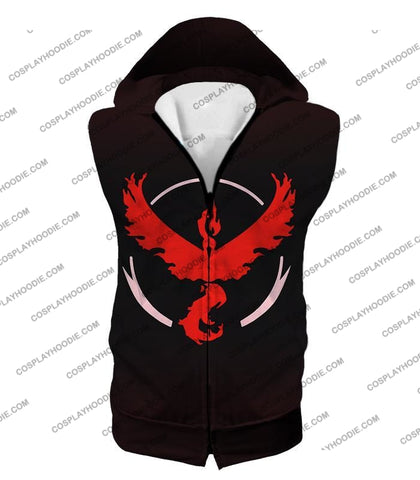 Image of Pokemon Cool Go Team Valor Moltres Logo Black T-Shirt Pkm145 Hooded Tank Top / Us Xxs (Asian Xs)