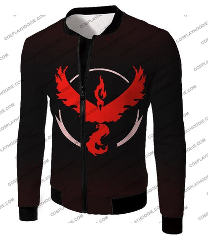 Image of Pokemon Cool Go Team Valor Moltres Logo Black T-Shirt Pkm145 Jacket / Us Xxs (Asian Xs)