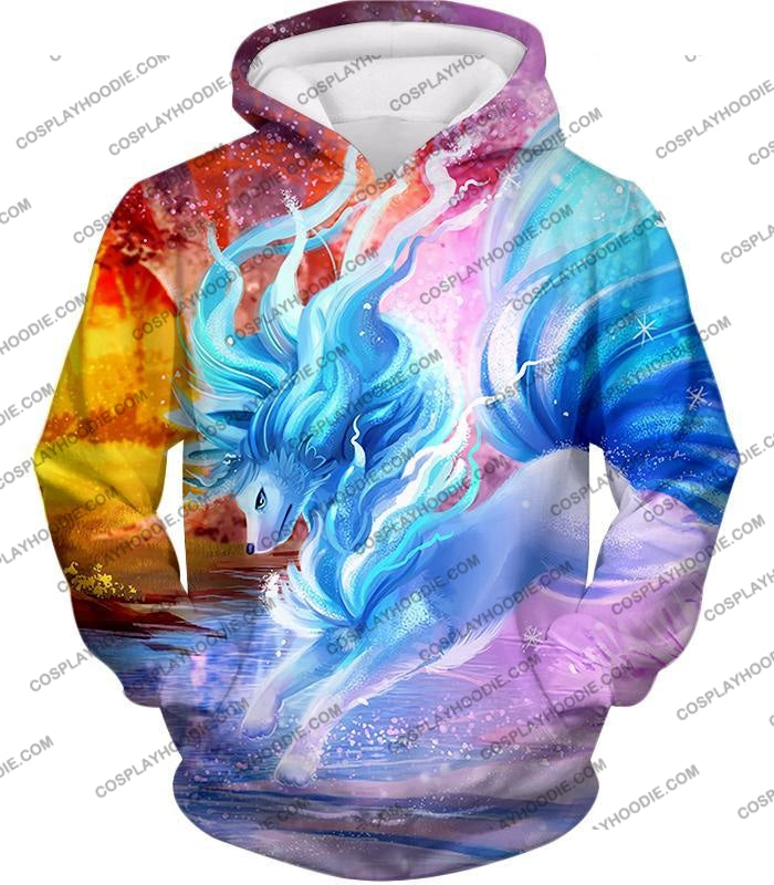 Pokemon Super Cool Alolan Ninetails Awesome Anime Graphic Fanart T-Shirt Pkm147 Hoodie / Us Xxs
