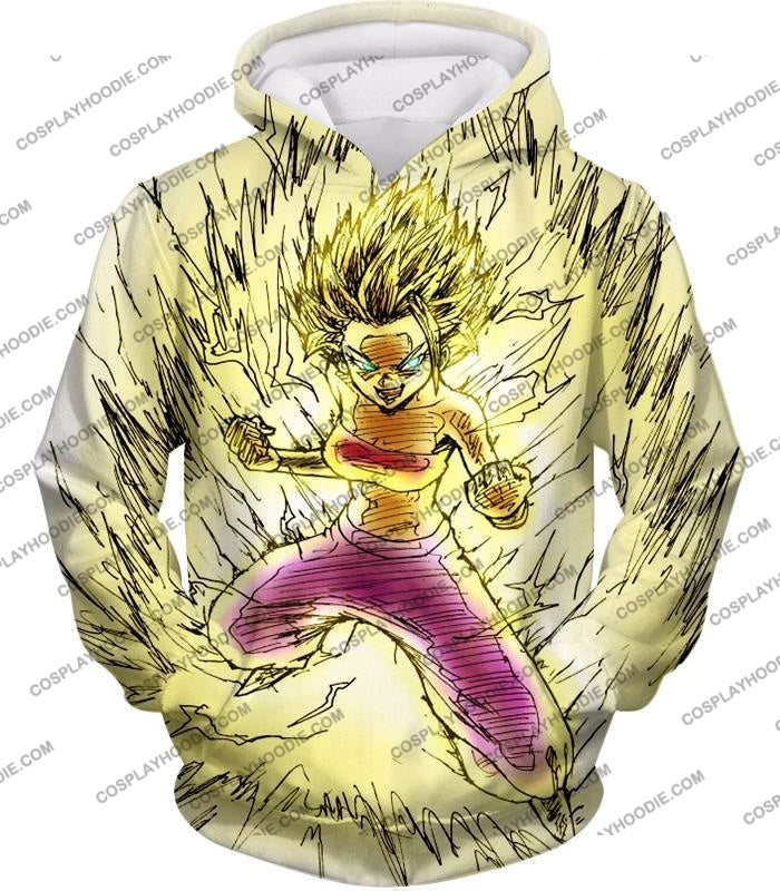Dragon Ball Super Caulifla The Ultimate Female Saiyan Cool Art White T-Shirt Dbs147 Hoodie / Us Xxs