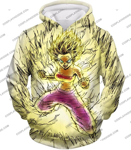 Image of Dragon Ball Super Caulifla The Ultimate Female Saiyan Cool Art White T-Shirt Dbs147 Hoodie / Us Xxs