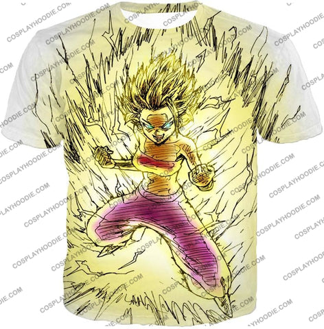 Image of Dragon Ball Super Caulifla The Ultimate Female Saiyan Cool Art White T-Shirt Dbs147 / Us Xxs (Asian