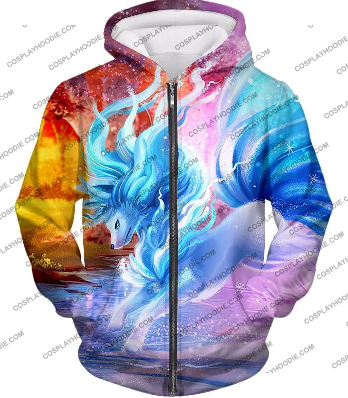 Pokemon Super Cool Alolan Ninetails Awesome Anime Graphic Fanart T-Shirt Pkm147 Zip Up Hoodie / Us