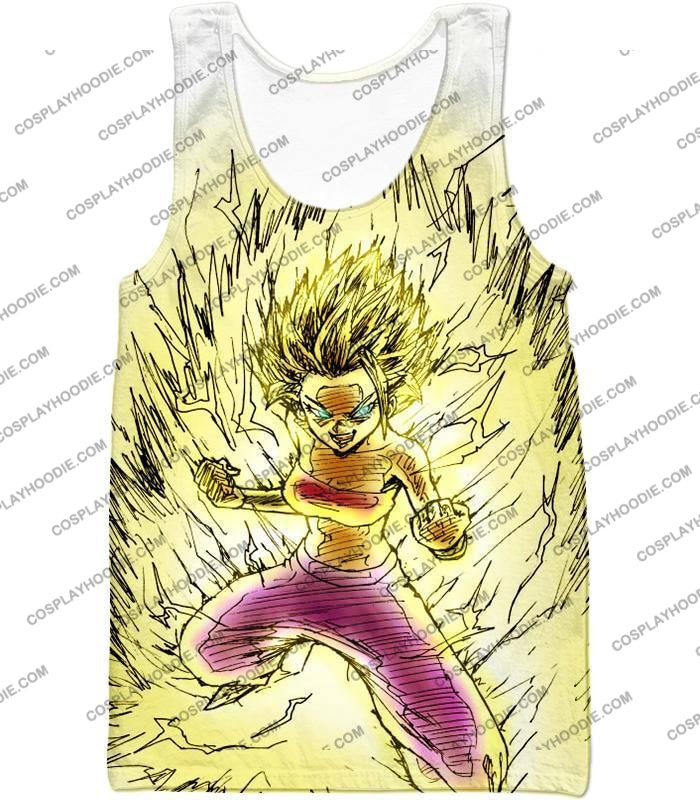 Dragon Ball Super Caulifla The Ultimate Female Saiyan Cool Art White T-Shirt Dbs147 Tank Top / Us