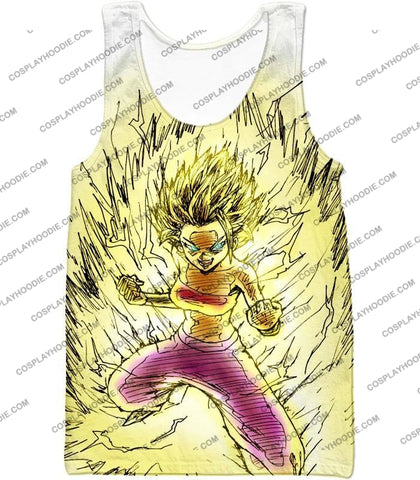 Image of Dragon Ball Super Caulifla The Ultimate Female Saiyan Cool Art White T-Shirt Dbs147 Tank Top / Us
