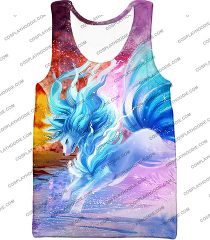 Image of Pokemon Super Cool Alolan Ninetails Awesome Anime Graphic Fanart T-Shirt Pkm147 Tank Top / Us Xxs