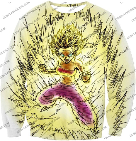 Image of Dragon Ball Super Caulifla The Ultimate Female Saiyan Cool Art White T-Shirt Dbs147 Sweatshirt / Us