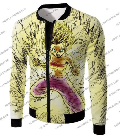 Image of Dragon Ball Super Caulifla The Ultimate Female Saiyan Cool Art White T-Shirt Dbs147 Jacket / Us Xxs