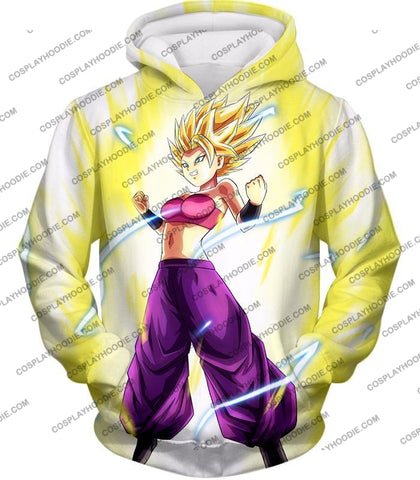 Image of Dragon Ball Super Saiyan 2 Caulifla Awesome Anime Action White T-Shirt Dbs148 Hoodie / Us Xxs (Asian