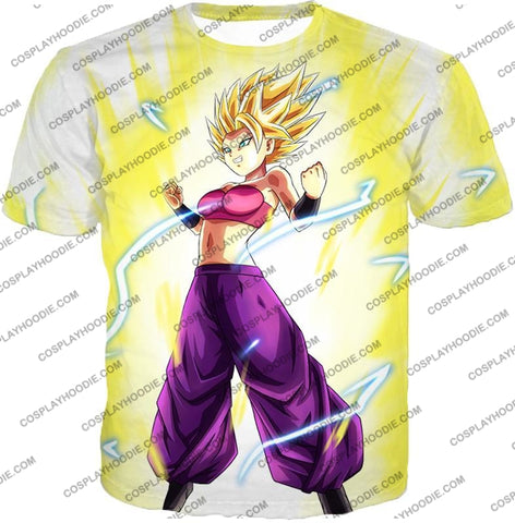 Image of Dragon Ball Super Saiyan 2 Caulifla Awesome Anime Action White T-Shirt Dbs148 / Us Xxs (Asian Xs)