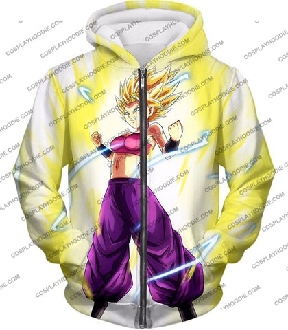 Image of Dragon Ball Super Saiyan 2 Caulifla Awesome Anime Action White T-Shirt Dbs148 Zip Up Hoodie / Us Xxs