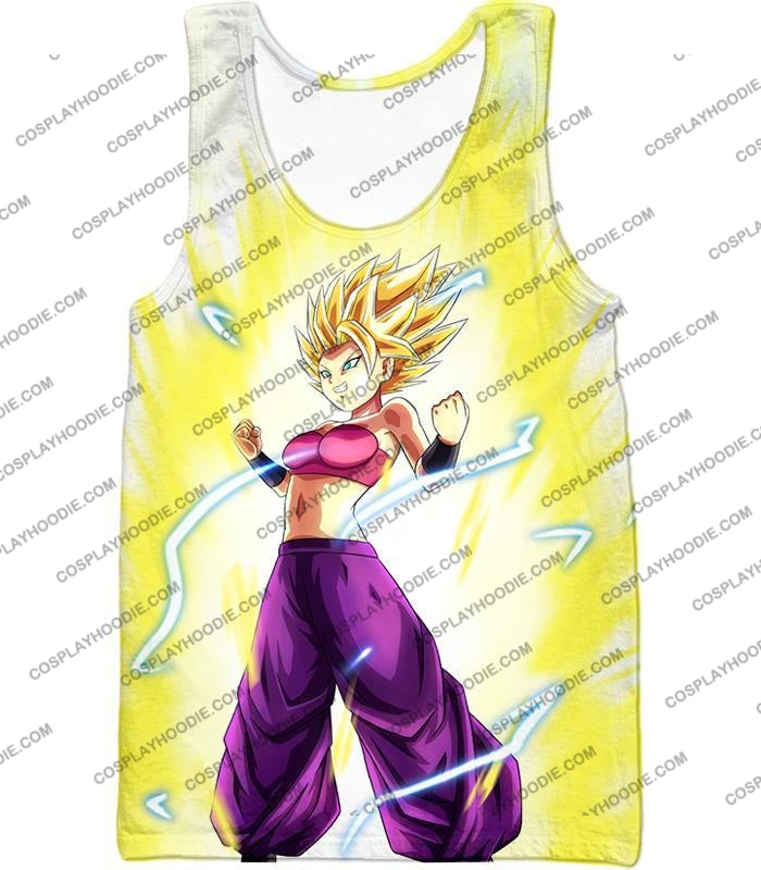 Dragon Ball Super Saiyan 2 Caulifla Awesome Anime Action White T-Shirt Dbs148 Tank Top / Us Xxs