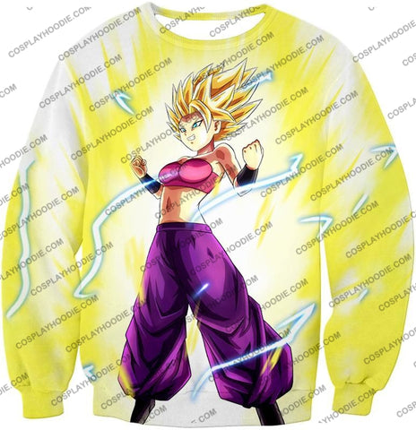 Image of Dragon Ball Super Saiyan 2 Caulifla Awesome Anime Action White T-Shirt Dbs148 Sweatshirt / Us Xxs