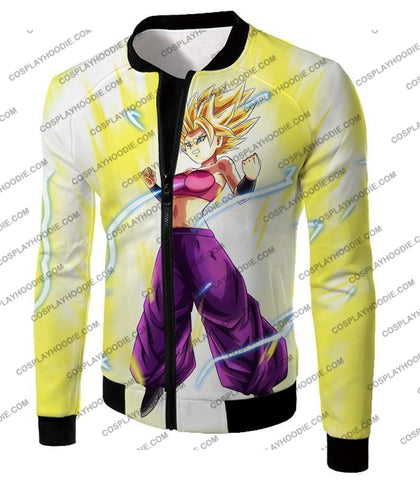 Image of Dragon Ball Super Saiyan 2 Caulifla Awesome Anime Action White T-Shirt Dbs148 Jacket / Us Xxs (Asian