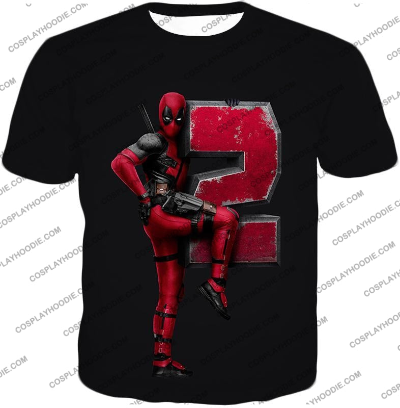 Marvels Awesome Movie Deadpool 2 Promo Black T-Shirt Dp149 / Us Xxs (Asian Xs)