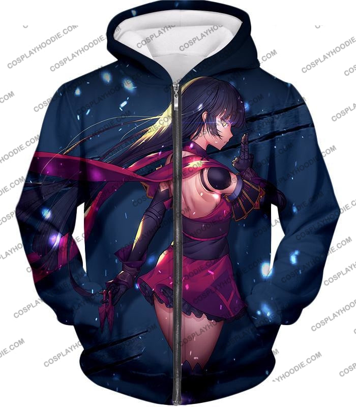 Fate Stay Night Hot Black Haired Female Fighter Series Action T-Shirt Fsn149 Zip Up Hoodie / Us Xxs