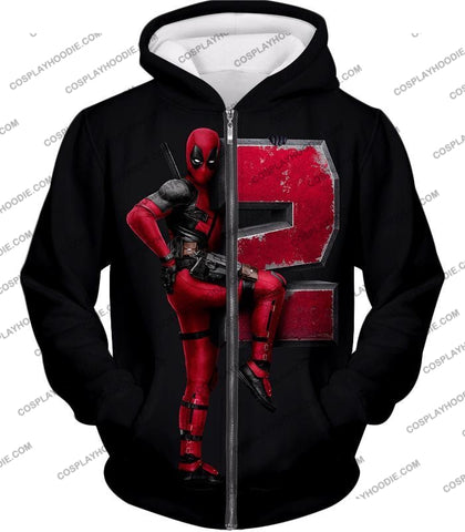 Image of Marvels Awesome Movie Deadpool 2 Promo Black T-Shirt Dp149 Zip Up Hoodie / Us Xxs (Asian Xs)
