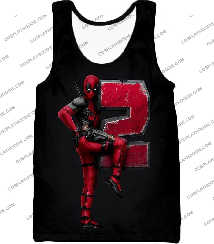 Marvels Awesome Movie Deadpool 2 Promo Black T-Shirt Dp149 Tank Top / Us Xxs (Asian Xs)