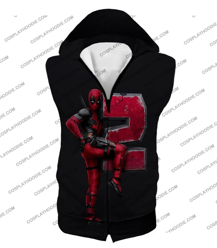Marvels Awesome Movie Deadpool 2 Promo Black T-Shirt Dp149 Hooded Tank Top / Us Xxs (Asian Xs)