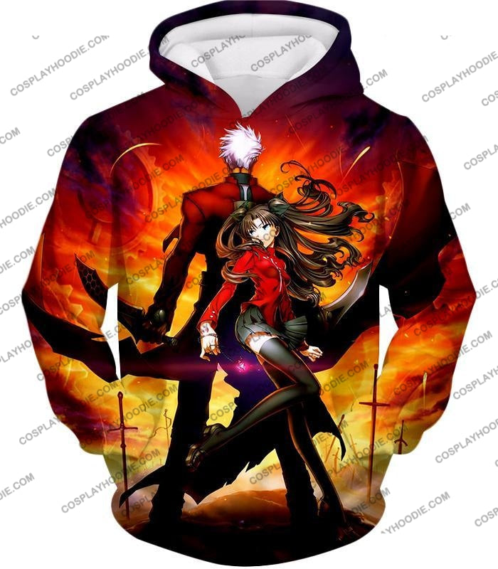 Fate Stay Night Cool Rin Tohsaka And Archer Action T-Shirt Fsn015 Hoodie / Us Xxs (Asian Xs)