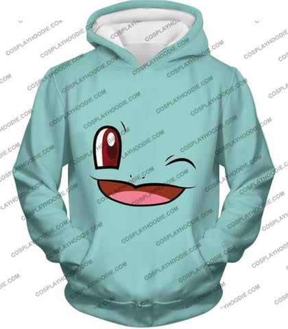 Image of Pokemon Squirtle Wink Artwork Blue T-Shirt Pkm165 Hoodie / Us Xxs (Asian Xs)