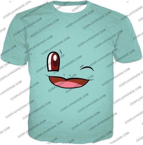 Image of Pokemon Squirtle Wink Artwork Blue T-Shirt Pkm165 / Us Xxs (Asian Xs)