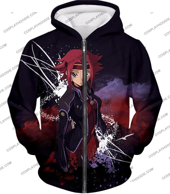 Red Haired Anime Girl Kallen Stadtfeld Alias Q-1 Cool Poster T-Shirt Cg015 Zip Up Hoodie / Us Xxs
