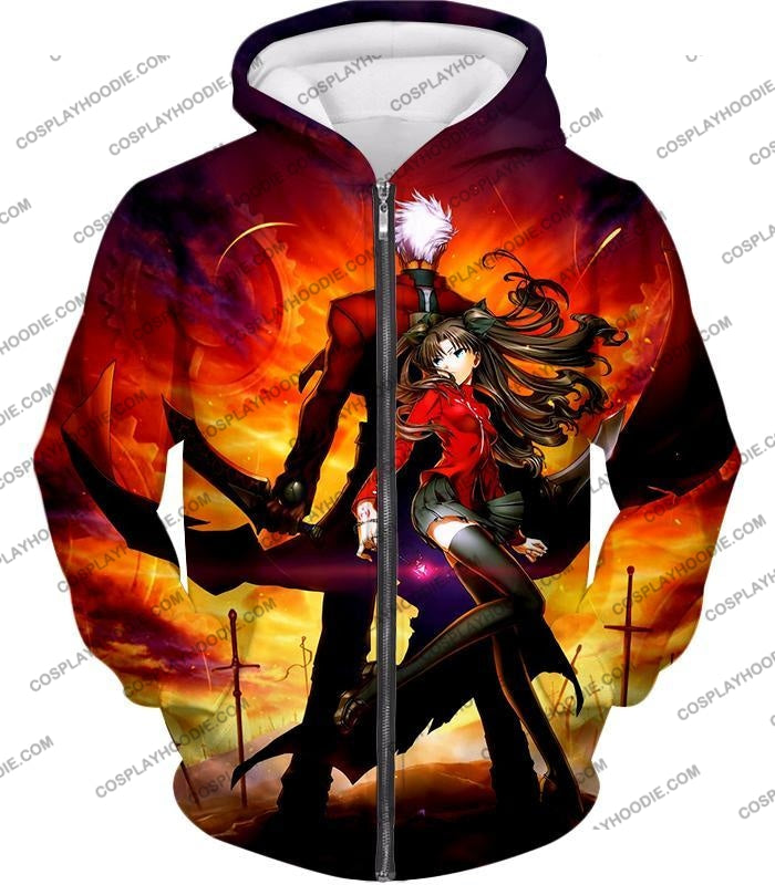 Fate Stay Night Cool Rin Tohsaka And Archer Action T-Shirt Fsn015 Zip Up Hoodie / Us Xxs (Asian Xs)