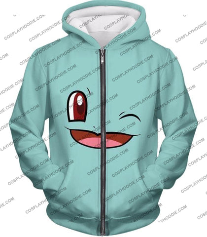 Image of Pokemon Squirtle Wink Artwork Blue T-Shirt Pkm165 Zip Up Hoodie / Us Xxs (Asian Xs)