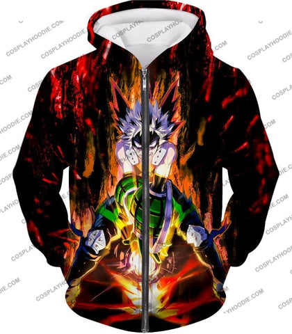 Image of My Hero Academia Awesome Explosion Quirk Bakugo Katsuki Ultimate Action T-Shirt Mha065 Zip Up Hoodie